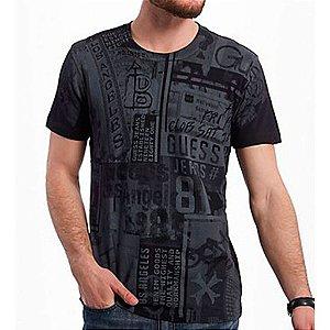 Camiseta Guess Masculina Jace Print Crew - Jet Black