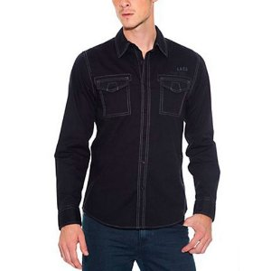 Camisa Guess Masculina Jonathan Slub Poplin  - Jet Black