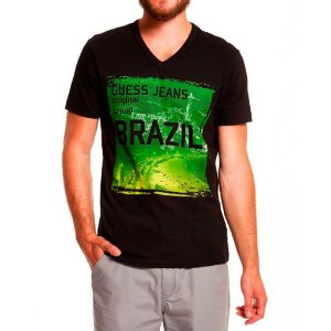 Camiseta Guess Masculina Kenji Destination Brazil - Jet Black