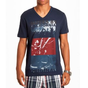 Camiseta Guess Masculina Kieran Print V-Neck - Officer Blue