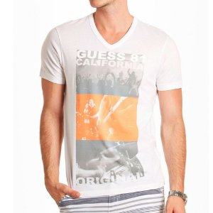 Camiseta Guess Masculina Kieran Print V-Neck - True White