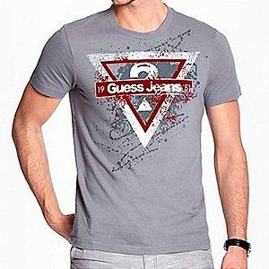 Camiseta Guess Masculina Leonardo Logo Crew Neck - Alloy Grey