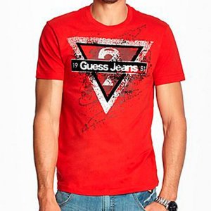 Camiseta Guess Masculina Leonardo Logo Crew Neck - Red Hot