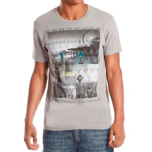 Camiseta Guess Masculina Nelson Destination Print Crew - Affinity Grey