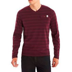 Manga Longa Guess Masculina Paxton Striped Long-Sleeve Tee - Chambord