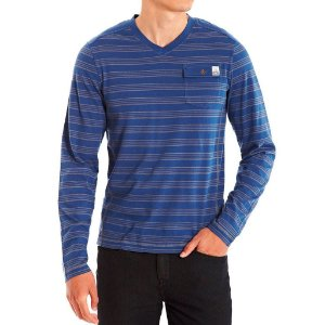 Manga Longa Guess Masculina Paxton Striped Long-Sleeve Tee - Regatta Blue