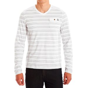 Manga Longa Guess Masculina Paxton Striped Long-Sleeve Tee - True White