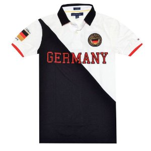 Polo Tommy Hilfiger Masculina Germany World Edition Piquet - Black and White