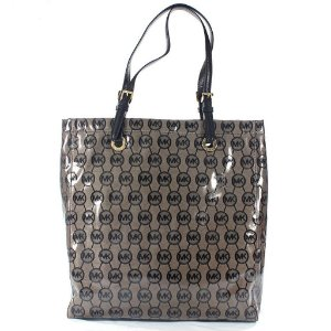 Bolsa Michael Kors Mono Coated Jacquard Tote Bag - Beige and Black