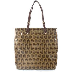 Bolsa Michael Kors Mono Coated Jacquard Tote Bag - Beige and Mocha