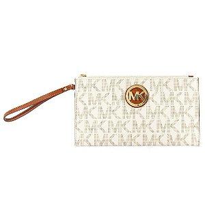 Bolsa Michael Kors Signature Fulton Clutch Bag - Vanilla