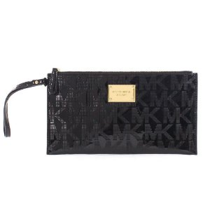 Bolsa Michael Kors Signature Mirror Metallic Clutch Bag - Black