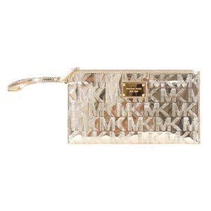 Bolsa Michael Kors Signature Mirror Metallic Clutch Bag - Pale Gold
