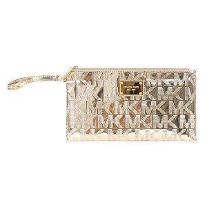 Bolsa Michael Kors Signature Mirror Metallic Clutch Bag - Pale Gold