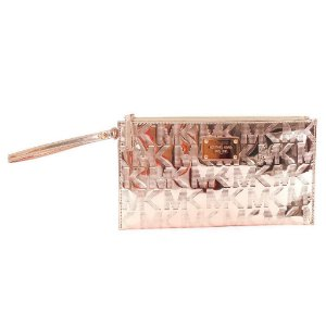Bolsa Michael Kors Signature Mirror Metallic Clutch Bag - Rose Gold