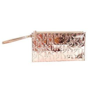 Bolsa Michael Kors Signature Mirror Metallic Clutch Bag - Rose Gold