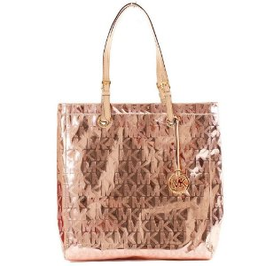 Bolsa Michael Kors Signature Mirror Metallic Tote - Rose Gold