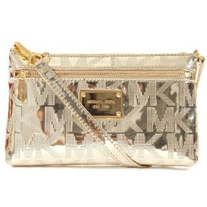 Bolsa Michael Kors Signature Mirror Metallic Wristlet Bag - Pale Gold