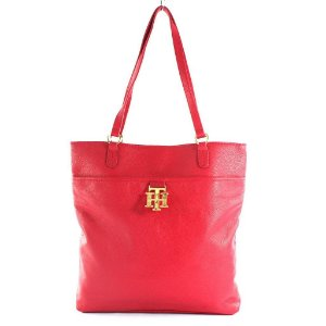 Bolsa Tommy Hilfiger Monogram Leather Tote Bag - Red