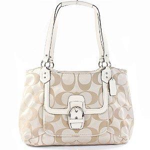 Bolsa Coach Belle Sig Cryal Leather Tote Bag - Light Khaki