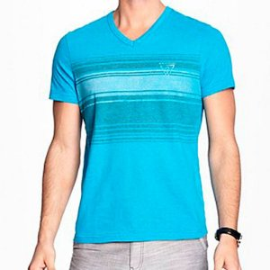 Camiseta Guess Masculina Rescan Stripe V-Neck Tee - Nu Blue