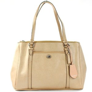 Bolsa Coach Peyton Jordan Leather Bag - Gold