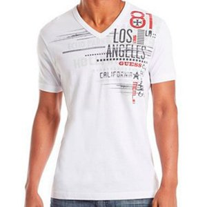 Camiseta Guess Masculina Solano Graphic Tee - True White