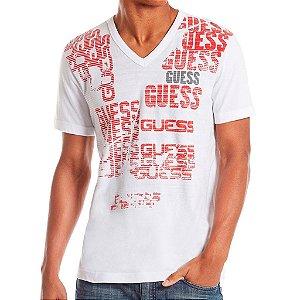 Camiseta Guess Masculina Wharton Logo V Tee - True White
