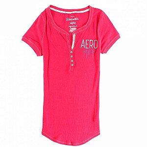Camiseta Aéropostale Feminina 1987 Crest Henley - Light Red