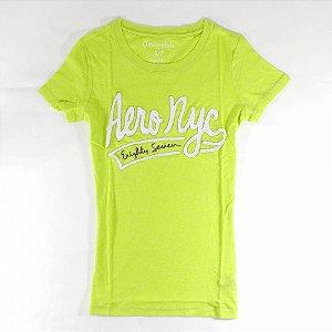 Camiseta Aéropostale Feminina Eighty-Seven Banner - Green