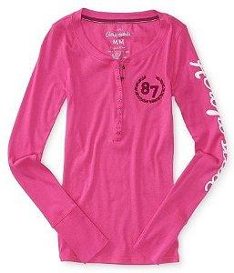 Manga Longa Aéropostale Feminina Henley 87 Crest - Pink
