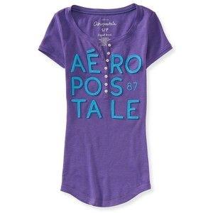 Camiseta Aéropostale Feminina Henley Aero1987 - Purple