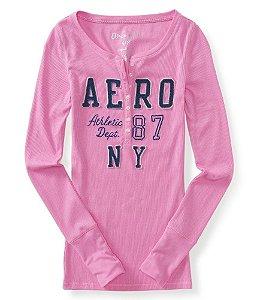 Manga Longa Aéropostale Feminina Long Sleeve Henley 87 - Pink