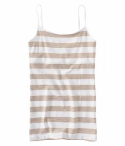 Blusinha Aéropostale Feminina Metallic Striped Basic Cami - Bleach