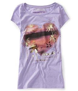 Camiseta Aéropostale Feminina Palm Tree Heart - Lavender Cloud