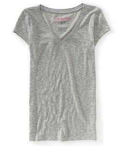 Camiseta Aéropostale Feminina Solid V-Neck - Heather Grey