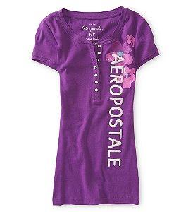 Camiseta Aéropostale Feminina Tropical Blossom Henley - Purple