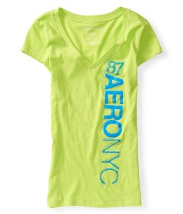 Camiseta Aéropostale Feminina Vertical NYC 87 - Lime Green