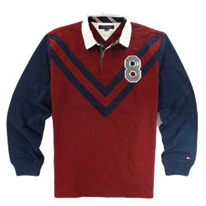 Polo Tommy Hilfiger Masculina Long Sleeve 8th - Burgundy and Navy