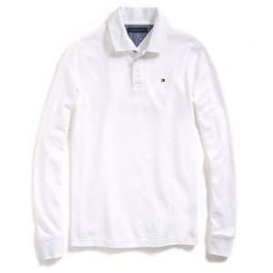 Polo Tommy Hilfiger Masculina Long Sleeve Classic Piquet - White