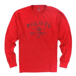Manga Longa Polo Ralph Lauren Long Sleeve Printed - Red