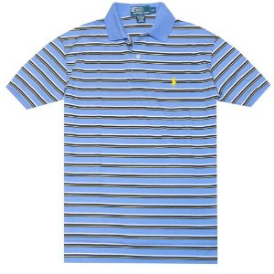 Polo Ralph Lauren Masculina Classic Fit Striped Pony Polo - Light Blue