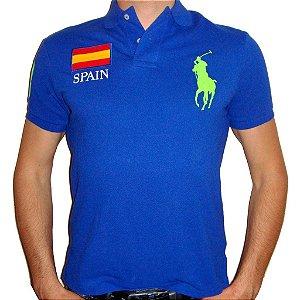 Polo Ralph Lauren Masculina Countries Custom Piquet Polo - Blue