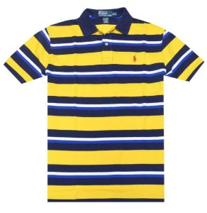 Polo Ralph Lauren Masculina Striped Classic Mesh Piquet Polo  - Canry Yellow