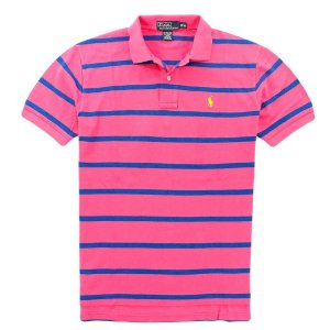 Polo Ralph Lauren Masculina Striped Classic Mesh Polo - Parrot Pink