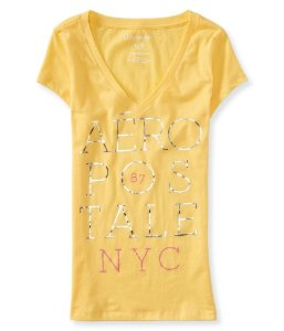 Camiseta Aéropostale Feminina Stacked V-Neck - Sunshine