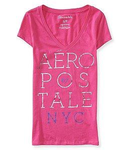 Camiseta Aéropostale Feminina Stacked V-Neck - Pink
