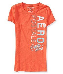 Camiseta Aéropostale Feminina Vertical Eighty - Coral