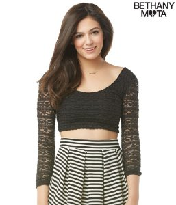 Blusinha Aéropostale Feminina Sheer-Back Crop - Black