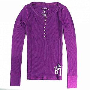 Manga Longa Aéropostale Feminina 87 Henley - Purple